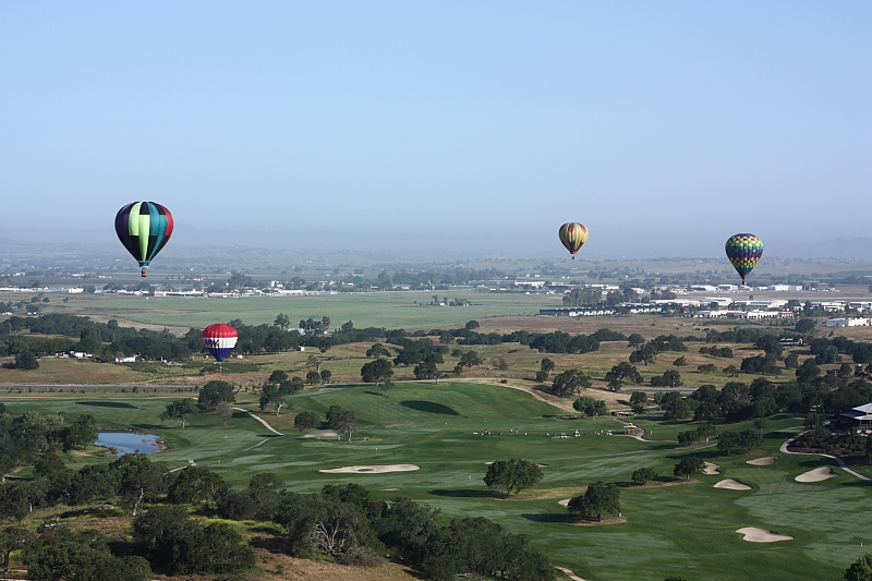 soaring over the Hunter Ranch golf course in a hot air balloon