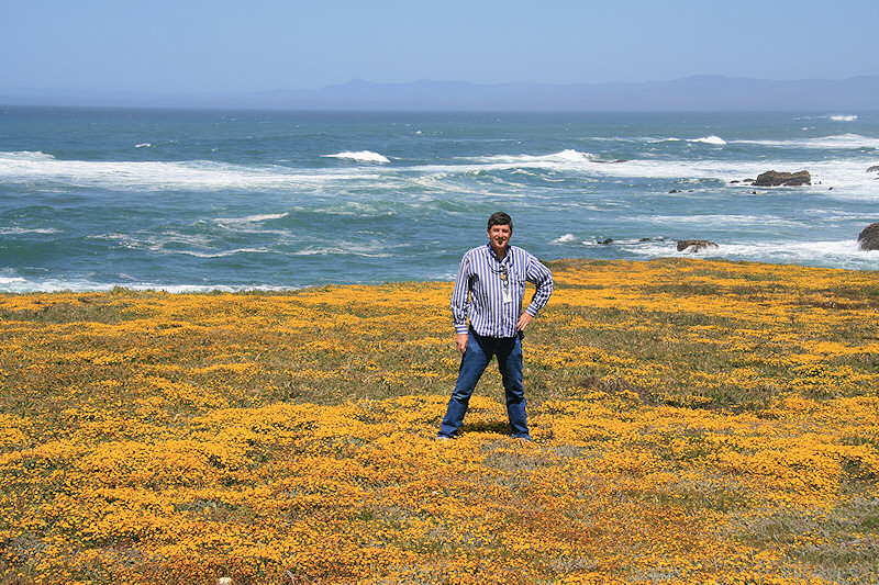 Jim Zim in a field of wildflowers just north of Diablo Canyon