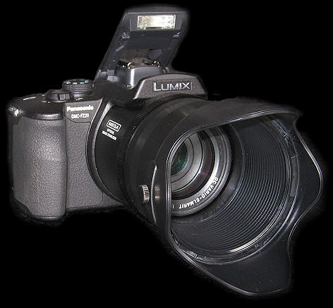 Panasonic Lumix DMC-FZ20 with lens hood on and flash open