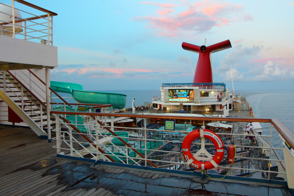Carnival Conquest cruise ship at Sunset