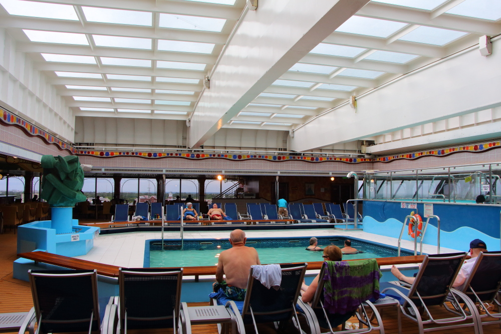 Carnival Conquest aft pool with sliding dome closed