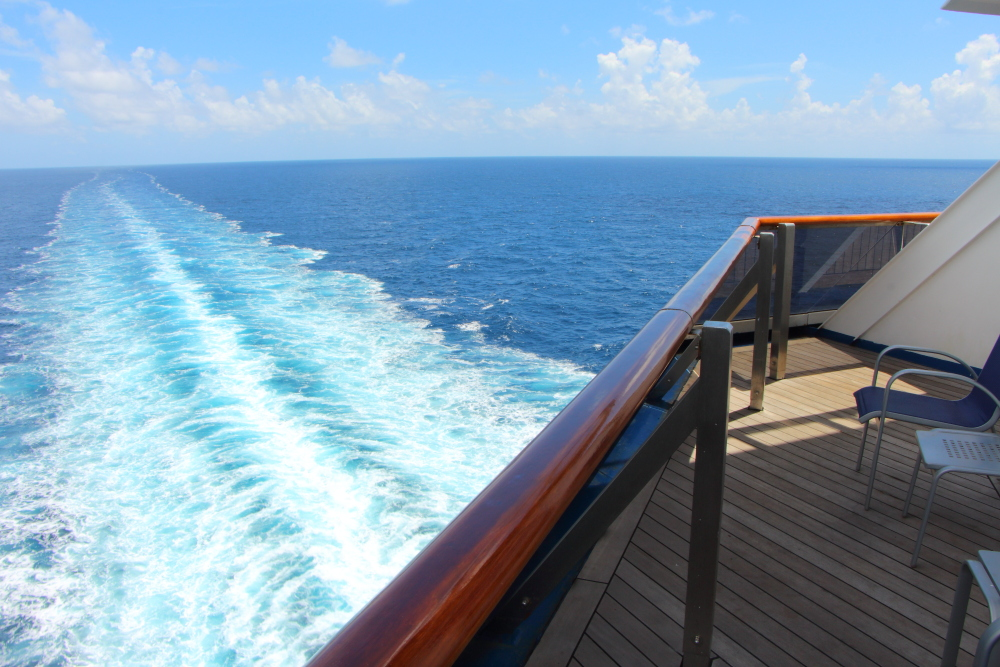 View from aft balcony cabin Carnival Conquest 8455