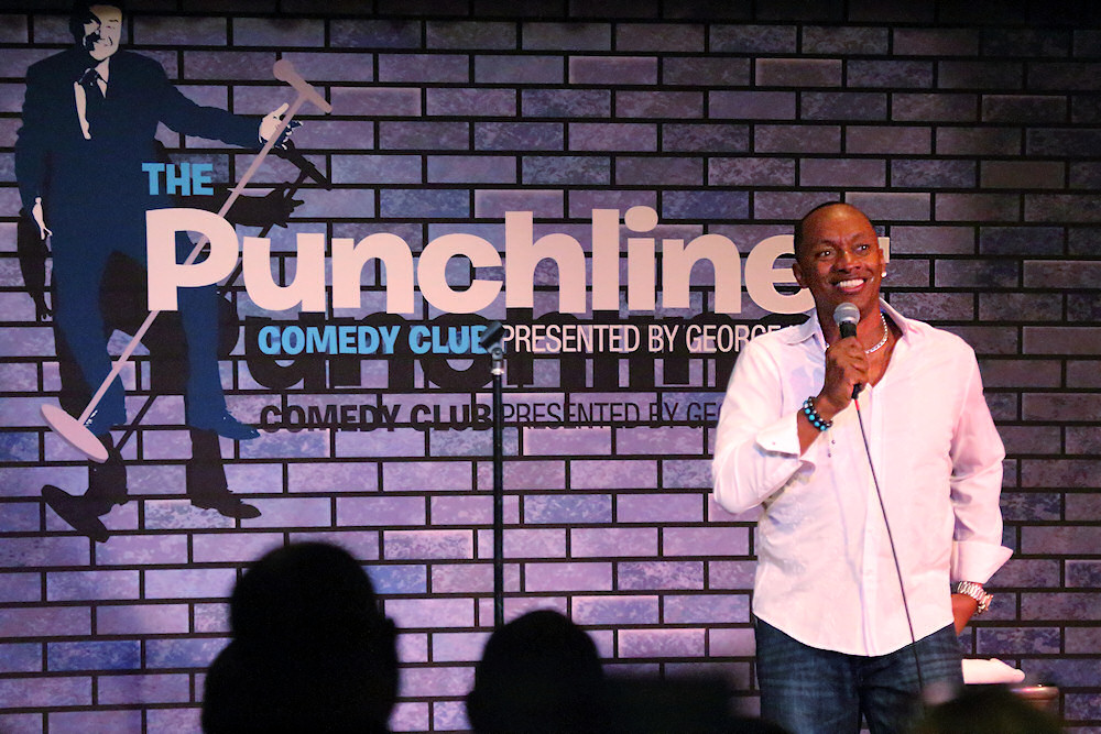 Comedian CeeJay Jones in the Punchliner comedy club