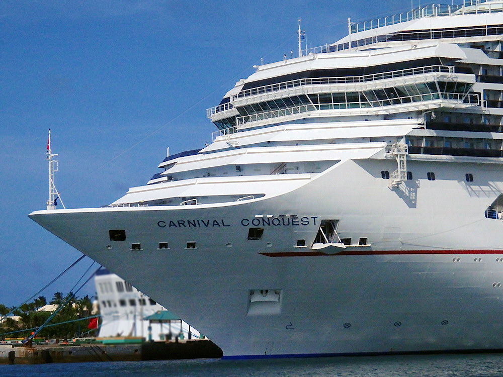 photo of the bow of the Carnival Conquest in Nassau