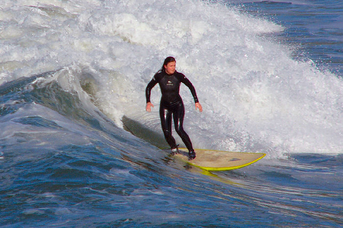 Pismo Beach surfer photo from Panasonic Lumix DMC-FZ10