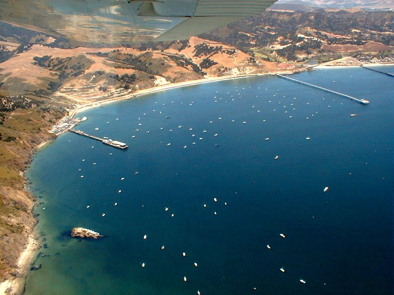 Aerial view of the Port San Luis harbor area