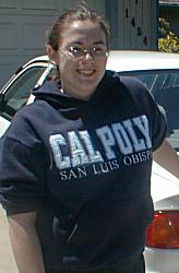 Sheri in Cal Poly sweatshirt